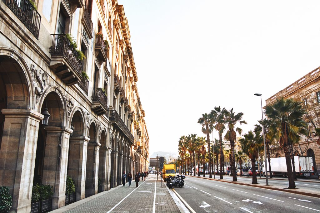 a street in Barcelona with beautiful buildings and palm trees