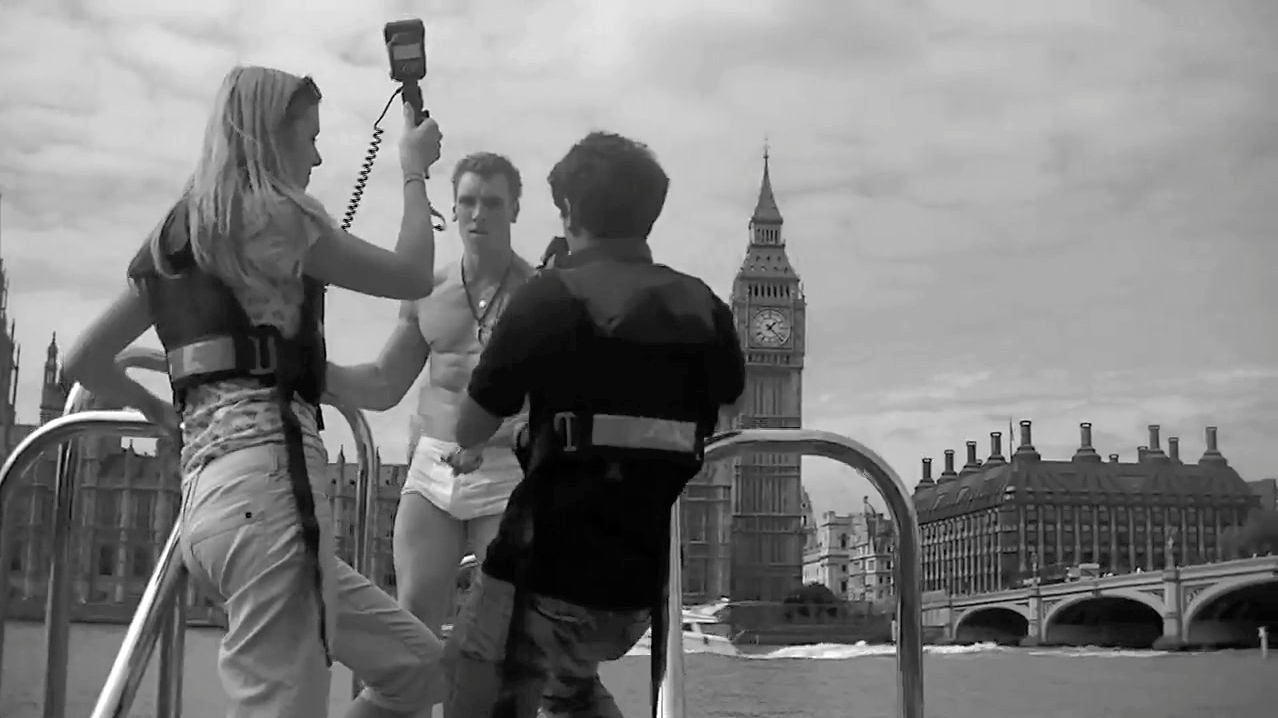 Picture in black and white on the Thames of the Undressing Disability photo shoot.