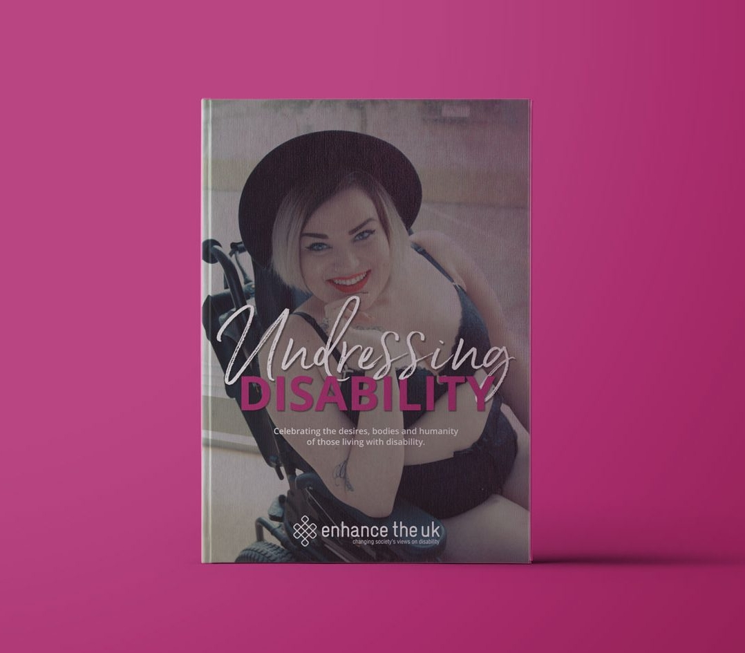 Undressing Disability book cover mock up on a pink background